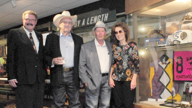 From left to right, Dr. James Streelman of Dutch Masters III, Bubba Werner, James Lackey and Fredda Draper, representing Heartswideopen. Her husband, Carl Draper, trained Heartswideopen.