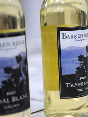 A bottle of 2007 Traminette at Barren Ridge Vineyards.