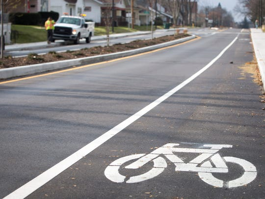 A designated bike lane was included in the reconstruction