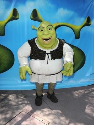 "Shrek arrives at the premiere of DreamWorks Animation's ""Shrek Forever After"" at Gibson Amphitheatre back in 2010."