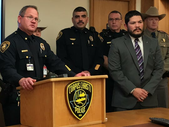 Commander David Blackmon discusses the Corpus Christi Police Department's plan to arrest drunken drivers during the New Year weekend on Thursday, Dec. 28, 2017, at the Corpus Christi Police Department Headquarters.