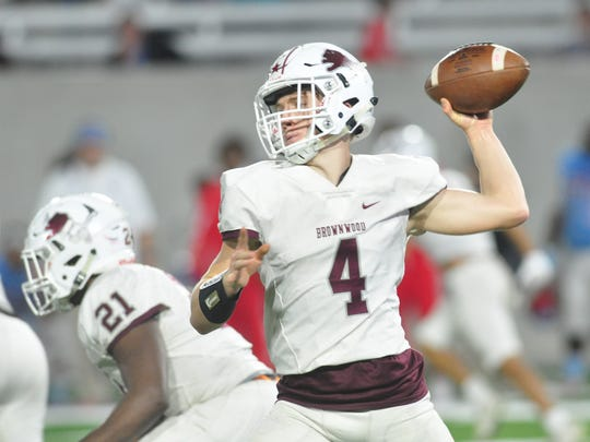 Brownwood quarterback Tommy Bowden throws a pass during the Lions' 44-34 loss to Wichita Falls Hirschi in a Region I-4A bi-district playoff game in 2017 at Abilene Christian University's Wildcat Stadium.