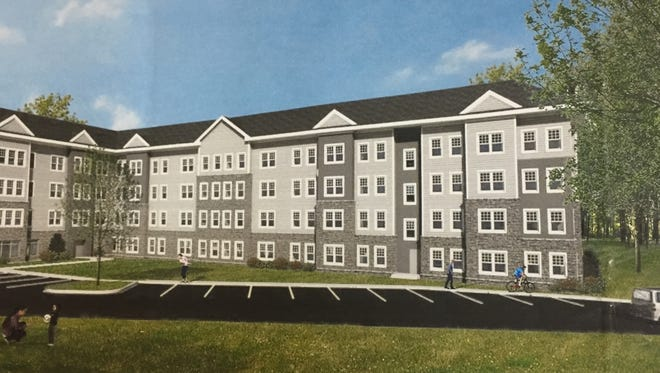 Proposed Moorestown Crossing design for 76 affordable housing apartments on Route 38 as displayed at a Moorestown Planning Board meeting by developer Pennrose Properties, trading as Moorestown Urban Development.