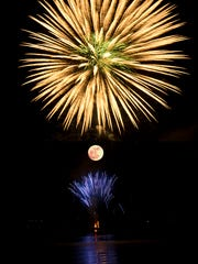 A view of the 2012 Independence Day fireworks show on Bainbridge Island.