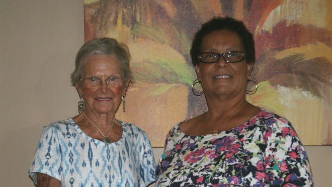 (L to R) Pictured are Madeline Hermann and Cheryl Caldwell. Madeline Hermann made a generously donation to upgrade the Friends in Pink's  office lobby.