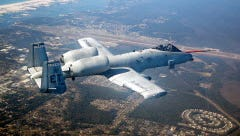 "An A-10C ""Warthog"" flies over Fort Walton Beach, Fla."