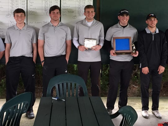 West Salem's boys golf team poses with its Greater Valley Conference district championship trophies on Tuesday, May 2, 2017.