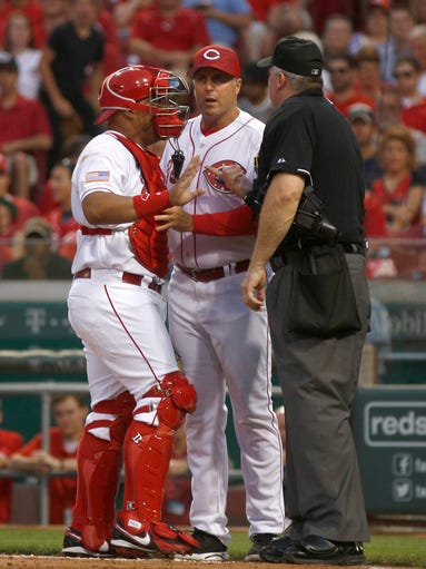 July 4: Reds catcher Brayan Pena is ejected after arguing