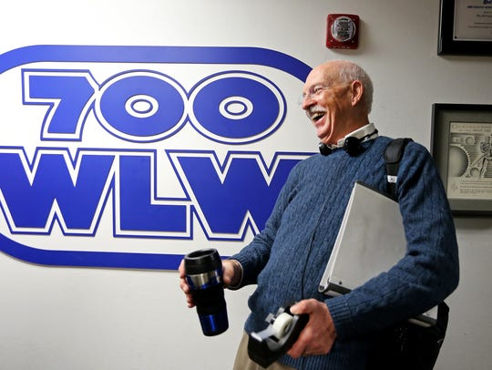 Jim Scott, 700 WLW-AM morning radio host for 47 years, is surprised by all the people lining the hallway after he finished his final show. He had a steady stream visitors calling and coming through the studio for his final four-hour show in 2015.