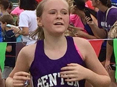 A Benton runner heads to the finish line in the middle school girls' division of Saturday's Ark-La-Tex Border Dash.