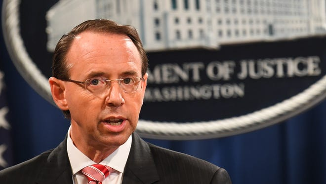 Deputy Attorney General Rod Rosenstein announced grand jury indictment of 12 Russian intelligence officers for hacking offenses related to 2016 elections.