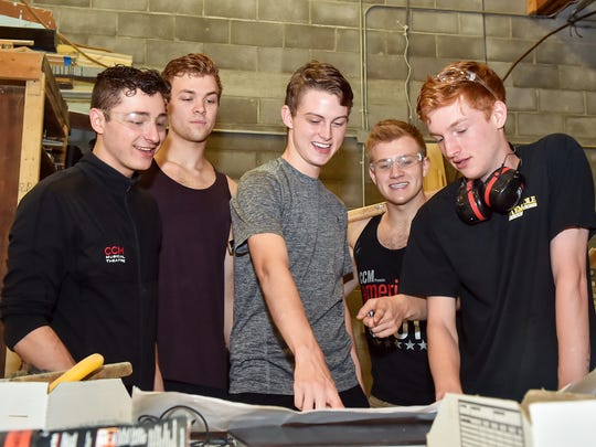 Starvros Koumbaros, Gabe Wrobel, Derek Kastner, Louis Griffin and Cole Nevins look at a set design at Totem Pole Playhouse on Wednesday, August 3, 2016.