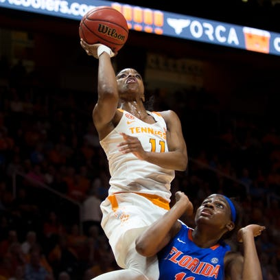 Tennessee's Diamond DeShields attempts a shot over