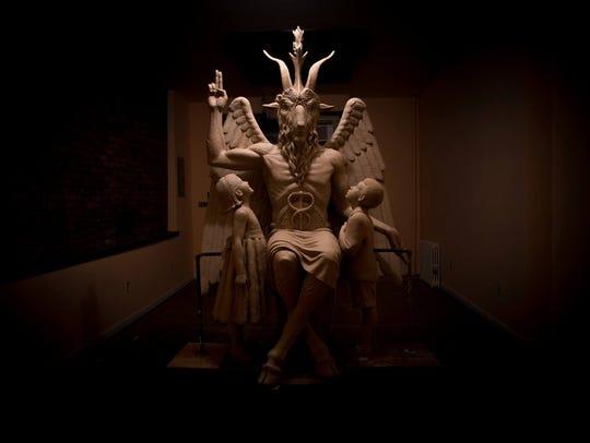 Statue of Baphomet, a goat-headed deity.