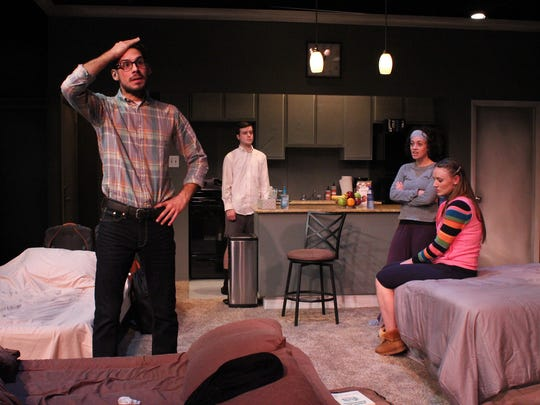 """Brian Vaughn, Ian Shield, Rachel Salowitz and Angela Stettler face off in StageWest's """"Bad Jews"""" at the Des Moines Social Club."""