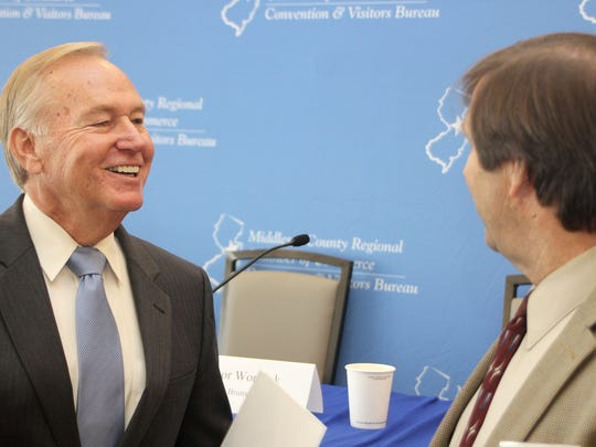 """Mayors Jim Cahill of New Brunswick, left, and Francis """"Mac"""" Womack of North Brunswick chat during Meet the Mayors on Oct. 13 at Crowne Plaza Princeton in Plainsboro."""