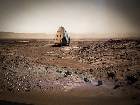 Concept art of a SpaceX Dragon spacecraft after landing on Mars.