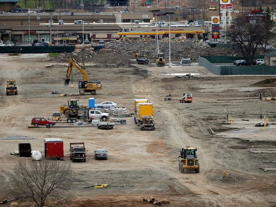 The Titletown District construction site looking west from Lambeau Field May 4, 2016.