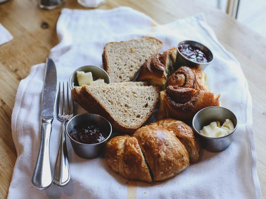 Homemade breads are served with house preserves and