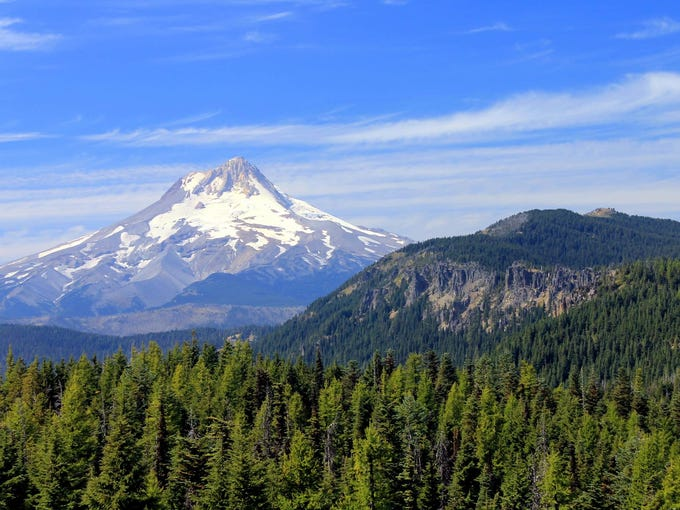 The summertime view of Mount Hood from Flag Point Lookout.