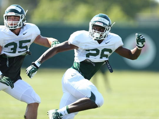 Michigan State University freshman Brandon Randle during the first week of practice.