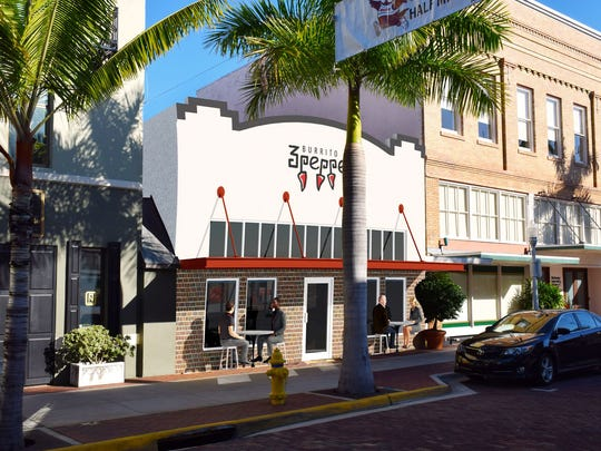 Rendering of the forthcoming 3 Pepper Burrito Co. in downtown Fort Myers at 2231 First St. The new location will be the third in Lee County.