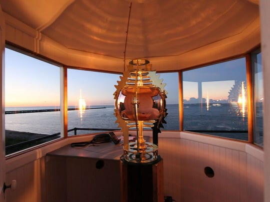 The fully-functional replica Fresnel lens overlooking the shores of Lake Erie from the historical Port Clinton Lighthouse.