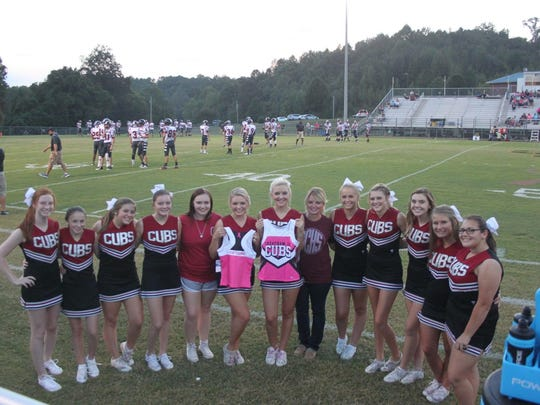 The Cheatham County Central High cheer squad. The cheerleaders