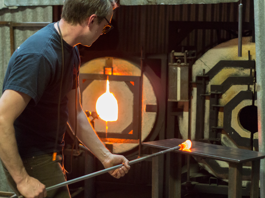 Resident artists at NC Glass Center in the River Arts