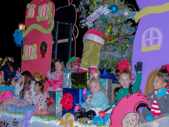 Members of the Center Stage Dance group were in costume for their ride on the parade float.