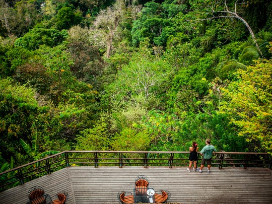 This undated photo shows visitors taking in a lookout area at the Lapa Rios Lodge in Costa Rica. Owner Hans Pfister says business at the lodge was hurt last year by concerns over the Zika virus, which is spread by mosquitoes, but this year Zika has faded from the headlines and Pfister says his guests are back.