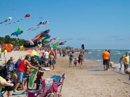An estimated more than 40,000 people attended the Kites Over Lake Michigan festival at Neshotah Beach in Two Rivers in 2016.