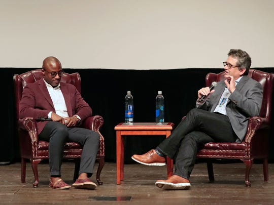 Oscar-winner Barry Jenkins, left, was joined onstage by mentor and former FSU Film School dean Frank Patterson.