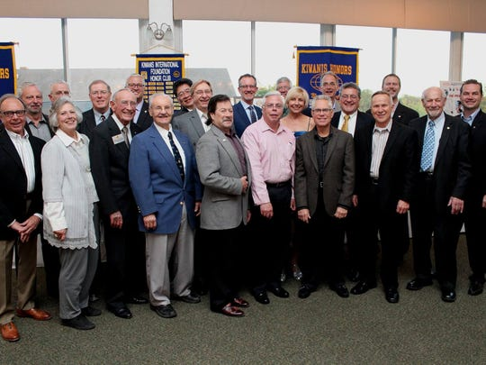 Past presidents of the club gathered for a photo op.