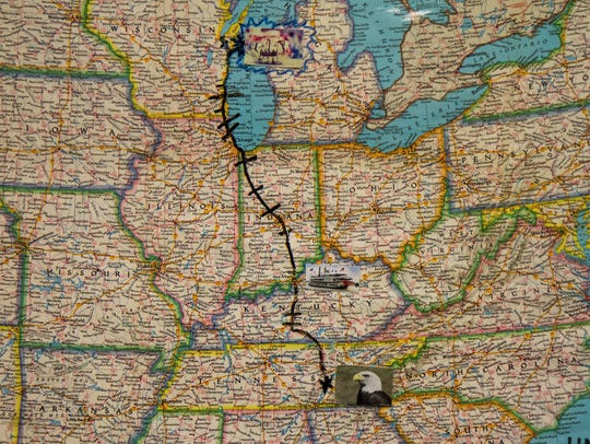 Route from Evensville, Tennessee, to Two Rivers students