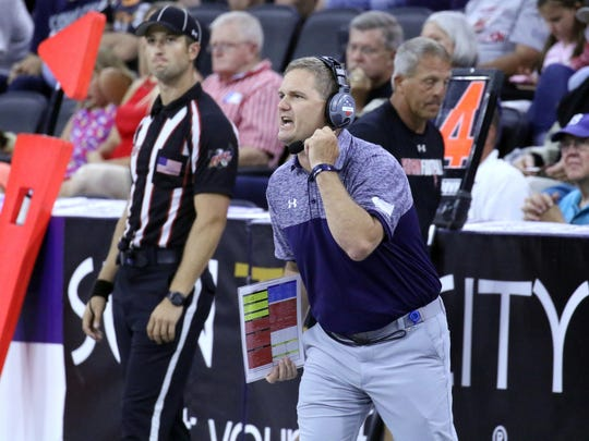 Storm Head Coach Kurtiss Riggs yells instructions during the 2017 United Bowl against the Arizona Rattlers at the Premiere Center.