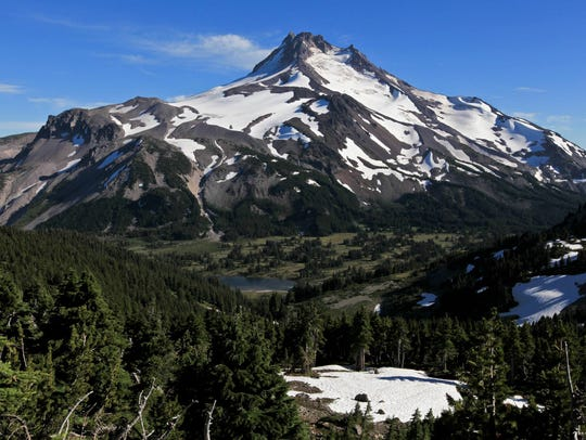 A Bend man was rescued from Mount Jefferson Saturday evening after he fell near Milk Creek Glacier, injuring his leg.