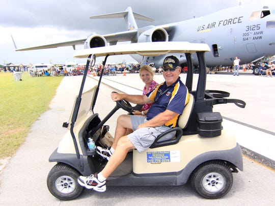 Marie Healy and Martin Zickert, the Blue Angels liaison for the 2018 Vero Beach Air Show and a past president of the Veterans Council of Indian River County.