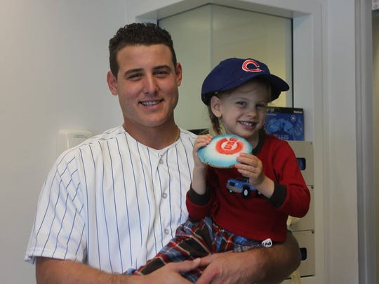 Sophia Zematis, Chicago, IL (right) with Anthony Rizzo, Chicago baseball (left)