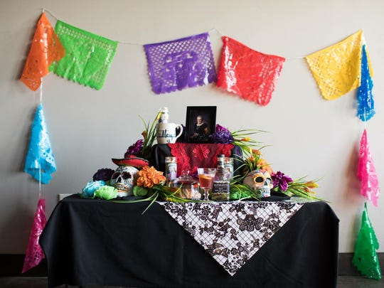 A traditional day of the dead altar.