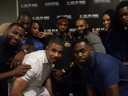 "Cast and crew members of the 2016 crime short ""Makes We Make"" gather at the Newark Black Film Festival. Pictured at top center are Jameel and J.M. Benjamin, who recently collaborated on a second film together, ""A Time for Finesse."""