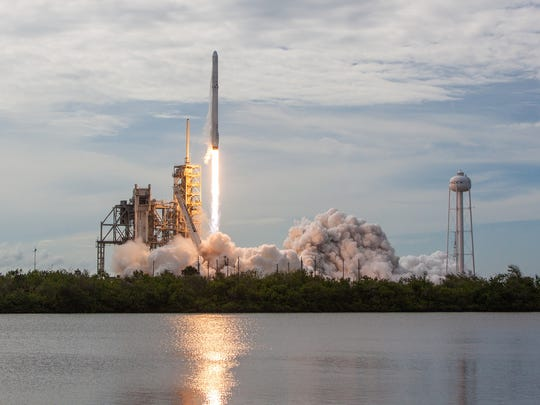 A SpaceX Falcon 9 rocket and Dragon capsule blasted off from Kennedy Space Center's pad 39A on June 3, 2017. The same Falcon booster is targeting  a second launch from KSC as soon as Dec. 8, lifting another Dragon capsule on its way to the International Space Station.