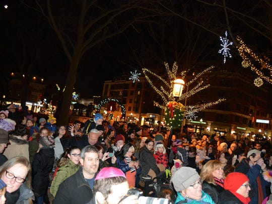 The 14-foot menorah on the Morristown Green will be