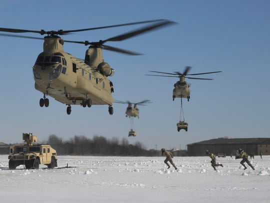 A U.S. Army aircrew assigned to Company B, 6th General
