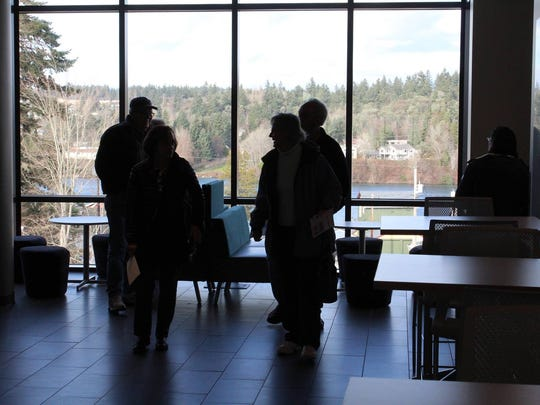 The third floor, which offers sweeping views of the Port Washington Narrows and Olympic Mountains.