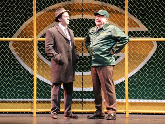 "Greg Fallick as Michael McCormick, a magazine reporter from New York City, and Richard Zavaglia as Vince Lombardi in Riverside Theatre's ""Lombardi."""