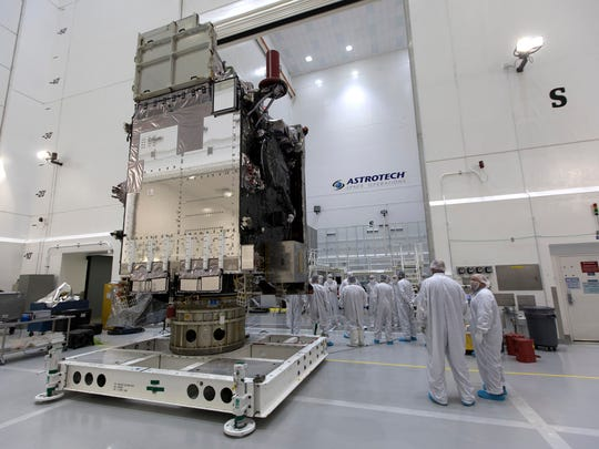 On Dec. 6, 2017, at Astrotech Space Operations in Titusville, NOAA's Geostationary Operational Environmental Satellite-S, or GOES-S, has been positioned on a work stand. Launch atop a United Launch Alliance Atlas V rocket is targeted for 5:02 p.m. Thursday, March 1.