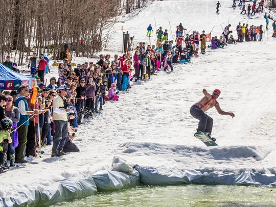 Pond skimming at Jay Peak.