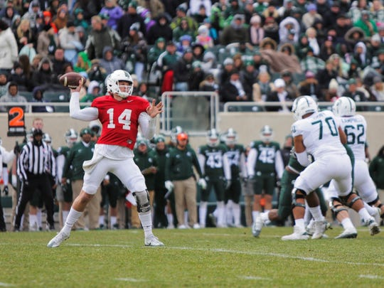 Michigan State QB Brian Lewerke readies to throw the ball downfield during the Spartans' Green-White spring football game, Saturday, April 7, 2018.