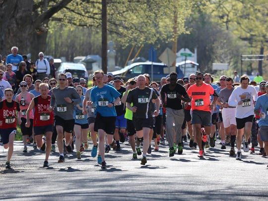 Runners take off at the We Shall Over Run 5K and 1 mile walk being held in Lebanon Borough  on Saturday, May 5
